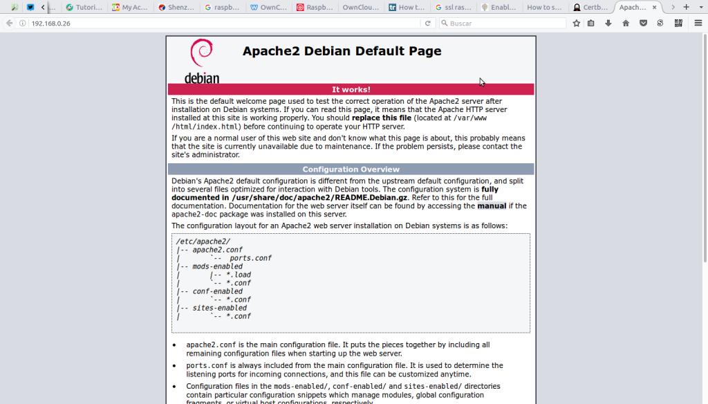Página por defecto de Apache2 en Debian