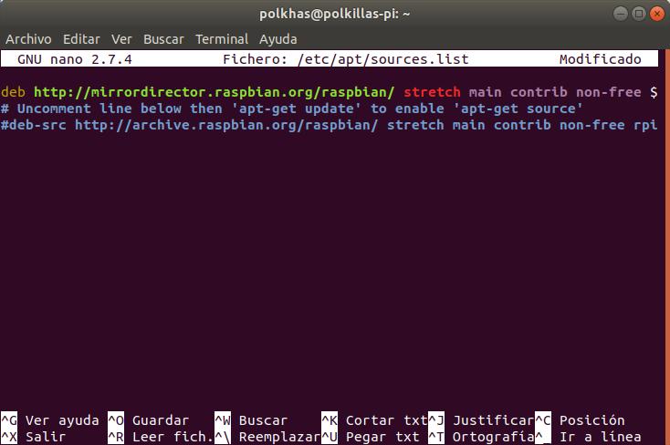 terminal con /etc/apt/sources.list de Raspbian