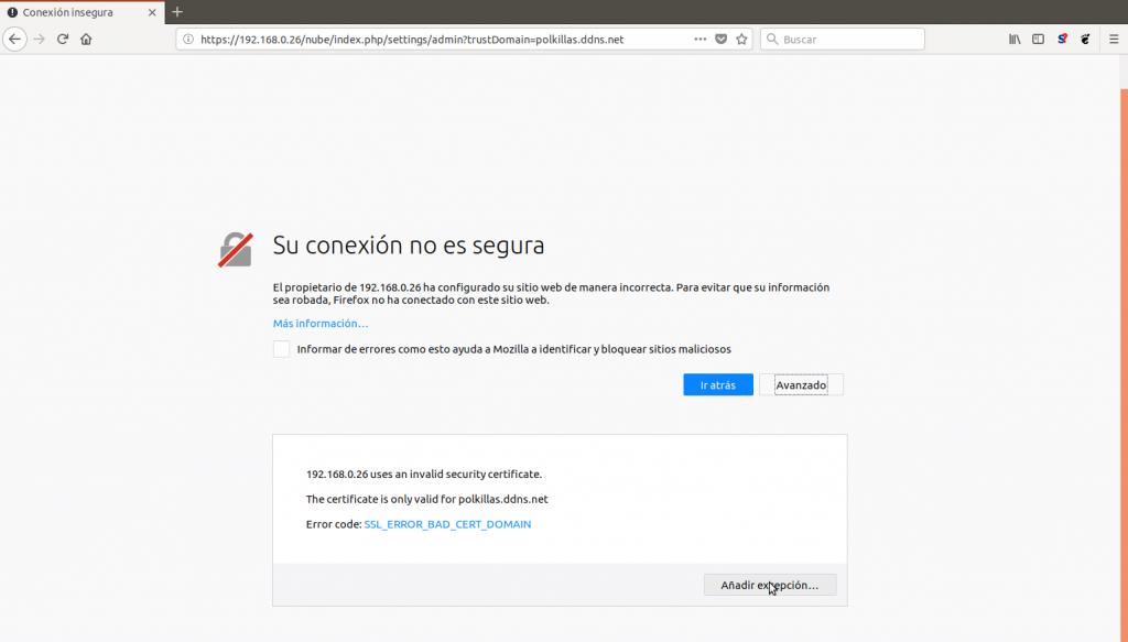 Agregar excepción en Firefox