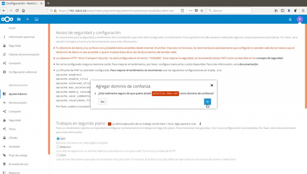 Añadir dominio de confianza a Nextcloud