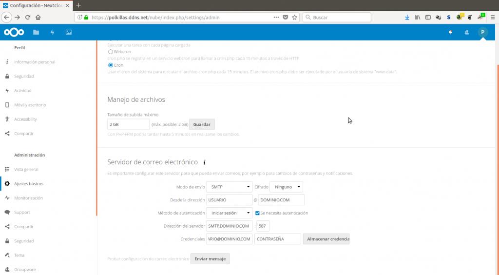 Configuración de correo para Nextcloud