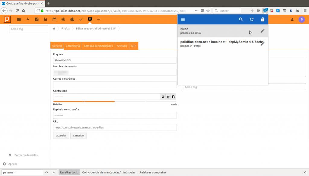 Passman (app de Nextcloud) sobre Firefox