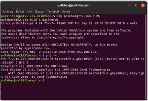 Terminal comprobando la versión de PHP