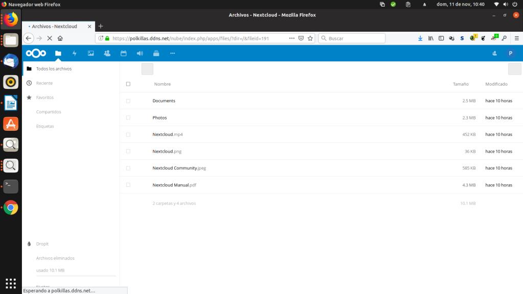 Inicio de Nextcloud 14 con HTTPS
