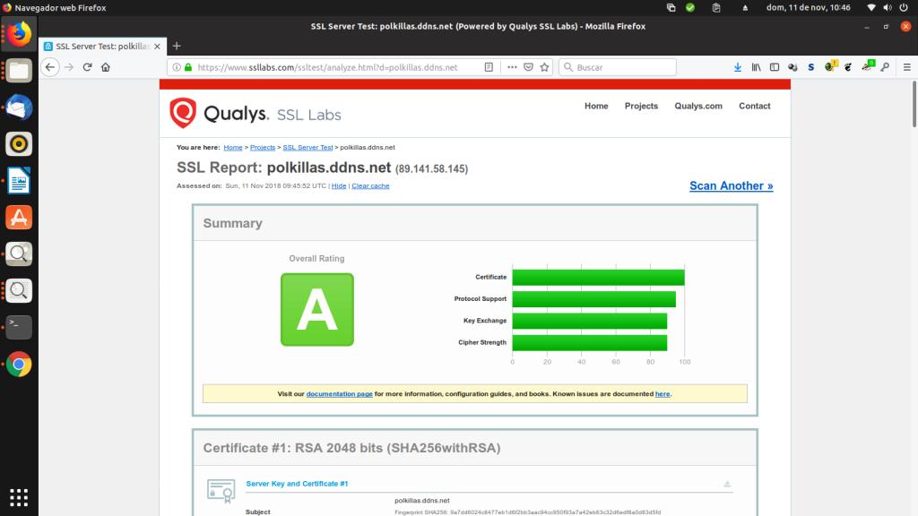 Resultado del test de SSL Labs en polkillas.ddns.net
