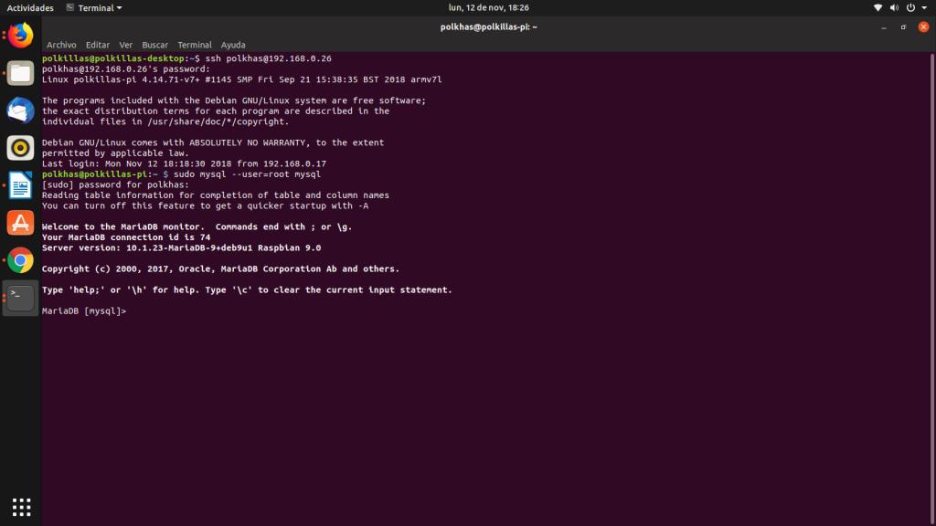 Prompt de MariaDB en Raspbian