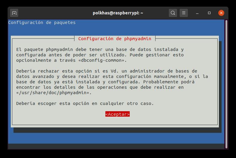 Configuración de phpmyadmin